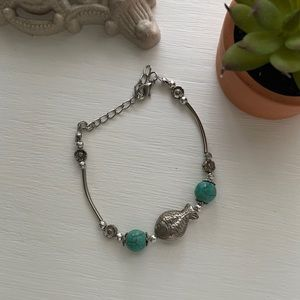 🌸 3/$8 Silver and Turquoise Fish Bracelet